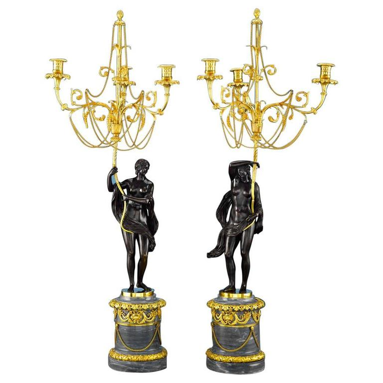 18th Century Russian Figural Bronze Candelabra For Sale
