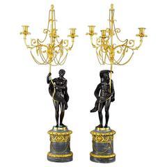 18th Century Russian Figural Bronze Candelabra