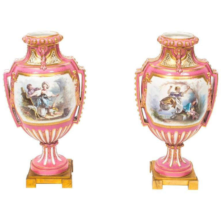 19th Century Pair Of French Ormolu Mounted Pink Sevres Vases For
