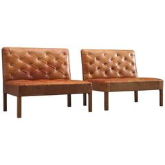 Kaare Klint Two Addition Sofa's in Original Cognac Leather
