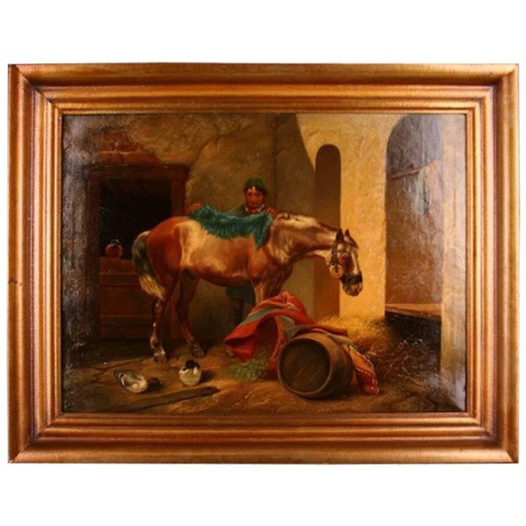 19th Century Historicism Style Oil on Canvas Painting by E. Muellers For Sale
