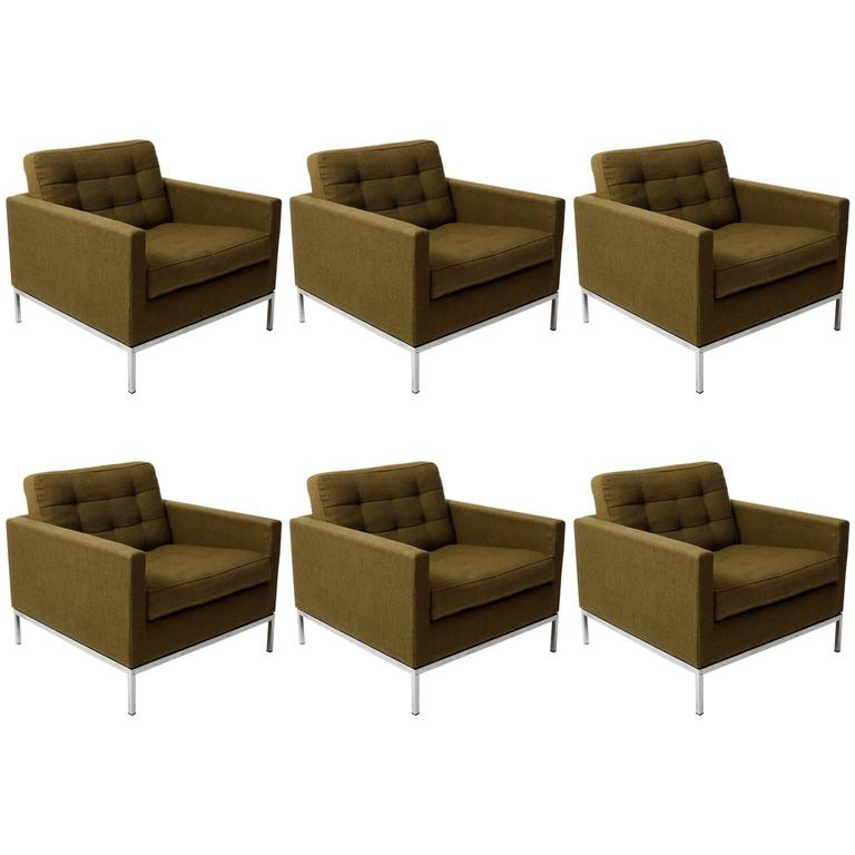 Set of Six Florence Knoll Lounge Chairs by Knoll International, 1970s