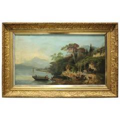 Antique Italian School Oil on Canvas Coastal Sea and Village Scene, circa 1880