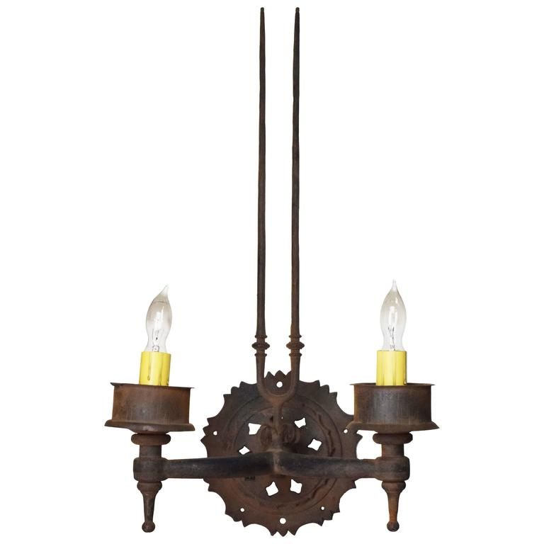 Iron Two Candle Sconce with Prongs, circa 1920