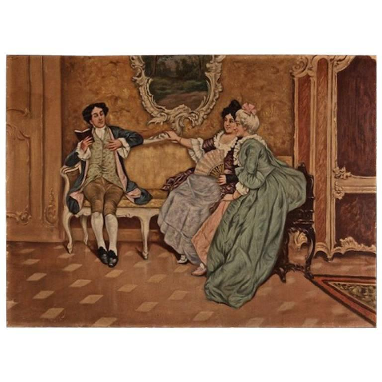 19th Century Rococo Style Painting Oil on Canvas For Sale