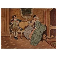 19th Century Rococo Style Painting Oil on Canvas