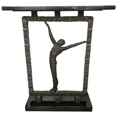 Figural Steel and Black Marble Console Table