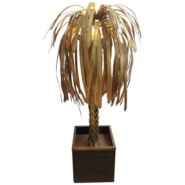 Maison Jansen Brass Palm Tree Floor Lamp