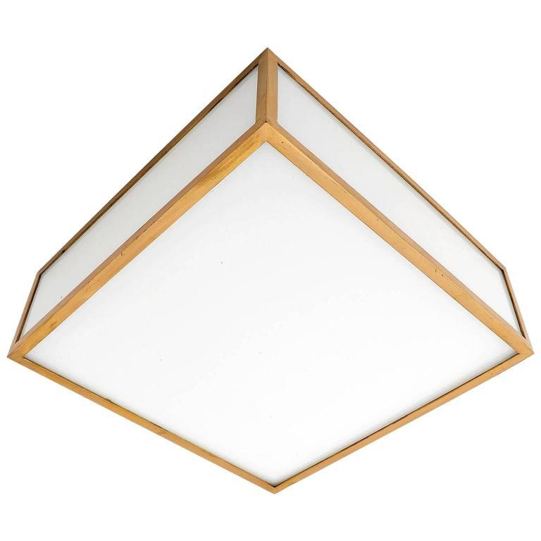 Square Box Flush Mount or Wall Light, Brass Opal Glass, Austria, 1960s
