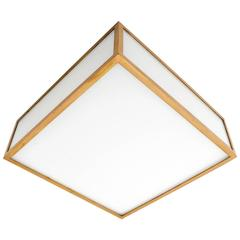 Square Box Flush Mount or Wall Light, Brass Opal Glass, Austria, 1960s