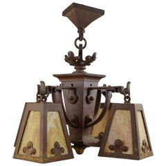 Hammered Iron Chandelier with Slag Glass Shades