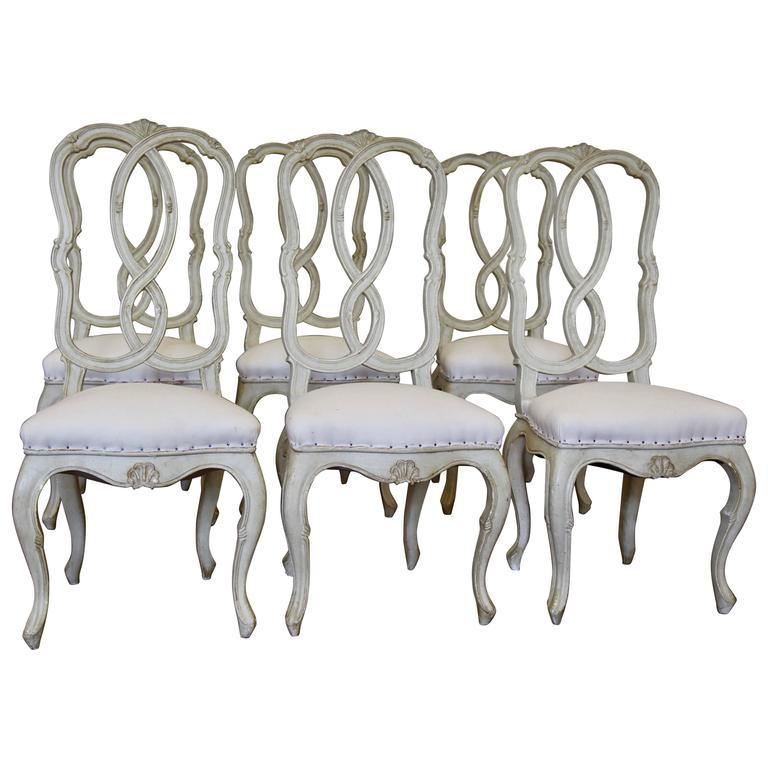 19th Century Set of Venetian Six Dinning Chairs