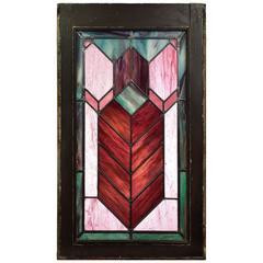 Chevron Stained Glass Window, circa 1920