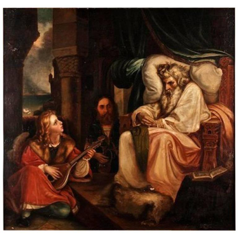 """19th Century Baroque Oil on Canvas """"the King and the Musical Page"""" by A. Sturm"""