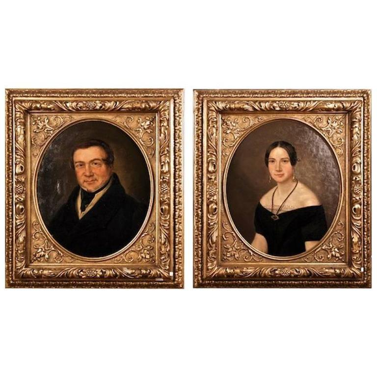 19th Century Biedermeier Oil on Canvas Portrait of a Couple