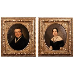 19th Century Biedermeier Oil on Canvas Portrait of a Couple