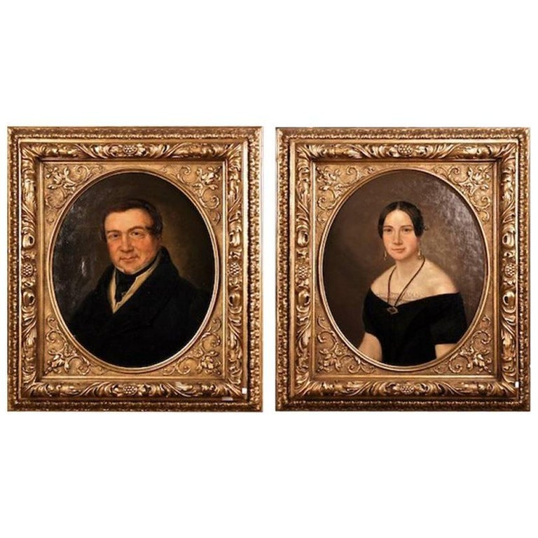 19th Century Biedermeier Oil on Canvas Portrait of a Couple For Sale