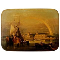 19th Century Romantic Painting with City View