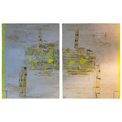 Pair Modern Abstract Oil Paintings