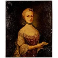 18th Century Baroque Oil on Canvas Painting Portrait