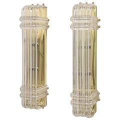 Pair of Mid-Century Modern Lucite Ribbon Sconces on Brass
