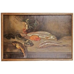 19th Century Historicism Oil Painting Fish Motives