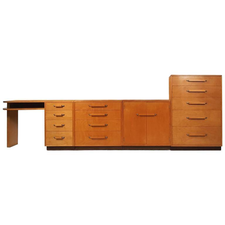 'Flexible Home Arrangement' Modular Birch Cabinet System by Eliel Saarinen For Sale