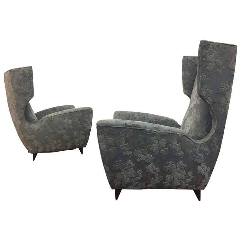 Pair of Wingback Armchairs, Italy, circa 1955