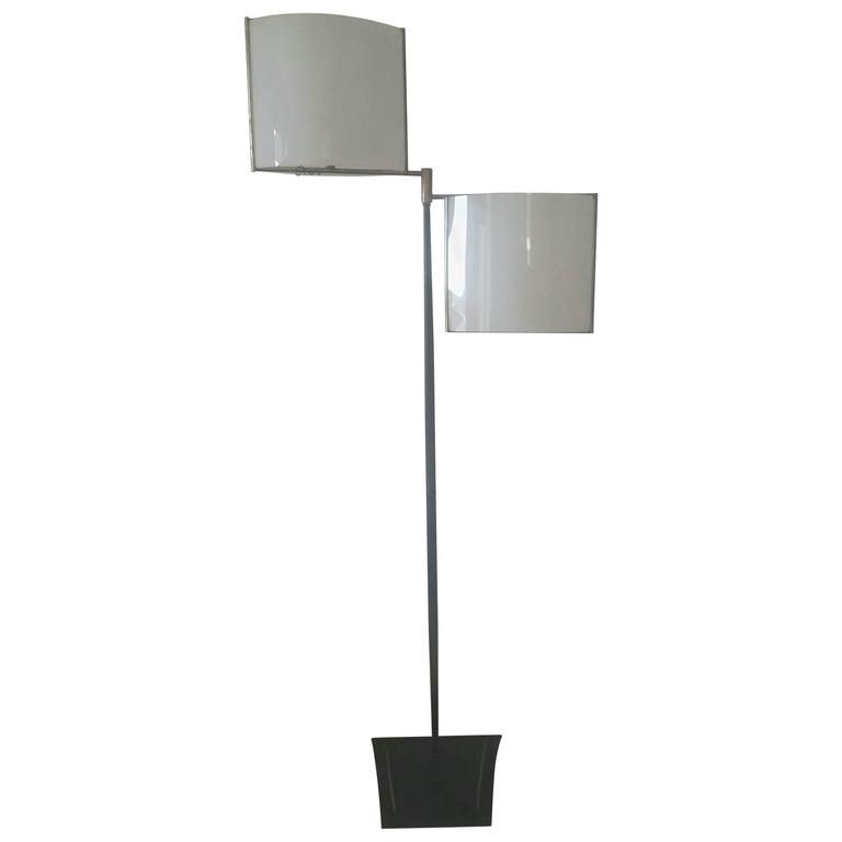 Large Orientable Double Perspex Shade Floor Lamp, Jacques Biny, France, 1950