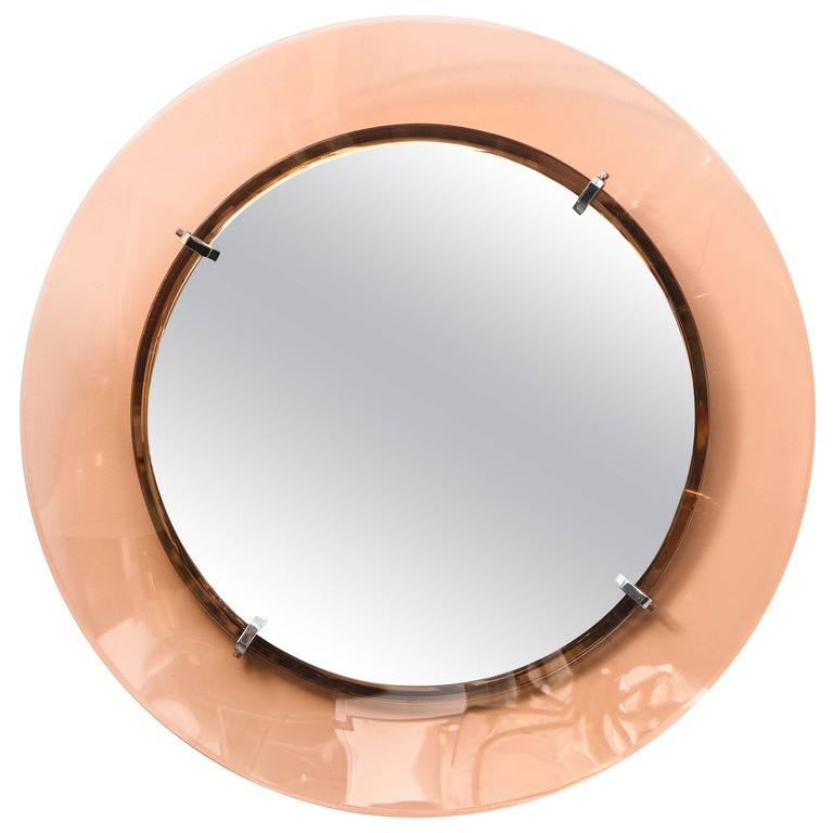Italian Blush Colored Glass Framed Mirror Att Fontana Arte