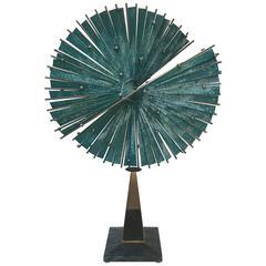 "Monumental Curtis Jere Bronze Sculpture, ""Split Sphere"""