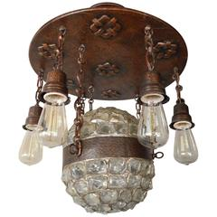 Swedish Arts and Crafts Era Chunk Glass and Copper Hanging Fixture, circa 1910