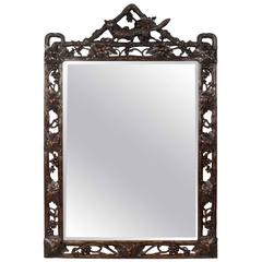 19th Century Black Forest Mirror in Carved Wood