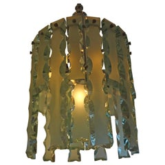 Italian Fontana Arte Style Frosted Glass Chandelier