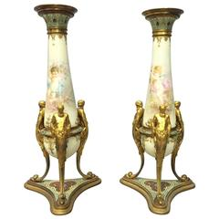 Pair of 19th Century Napoleon III Style Bud Vases by F. Barbedienne