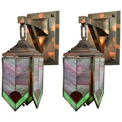 Gilt and Satin Mission Sconce with Stained Glass Panels