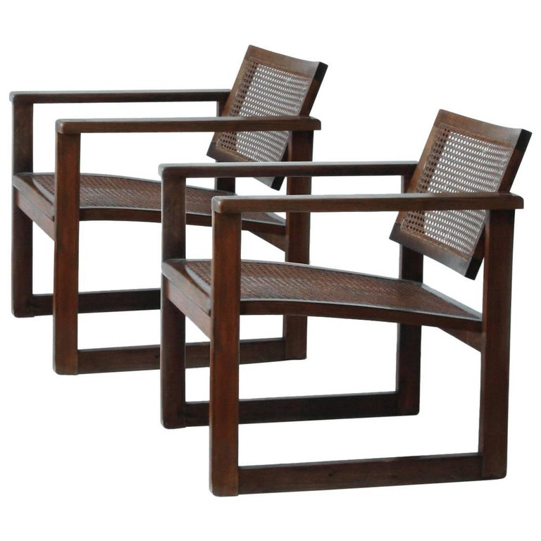 Bauhaus Wooden Armchairs Pair by Peter Keler, Manufactured by Albert Walde, 1930 For Sale