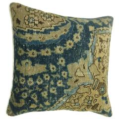 Persian Tabriz Pillow in Blue and Khaki
