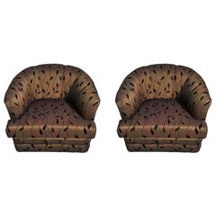Pair of Milo Baughman Style Swivel Barrel Lounge Chairs