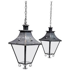 Pair of 19th Century Antique French Iron Lanterns