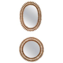 Pair of Wall Mirrors in the Style of Franco Albini, Italy, 1950s