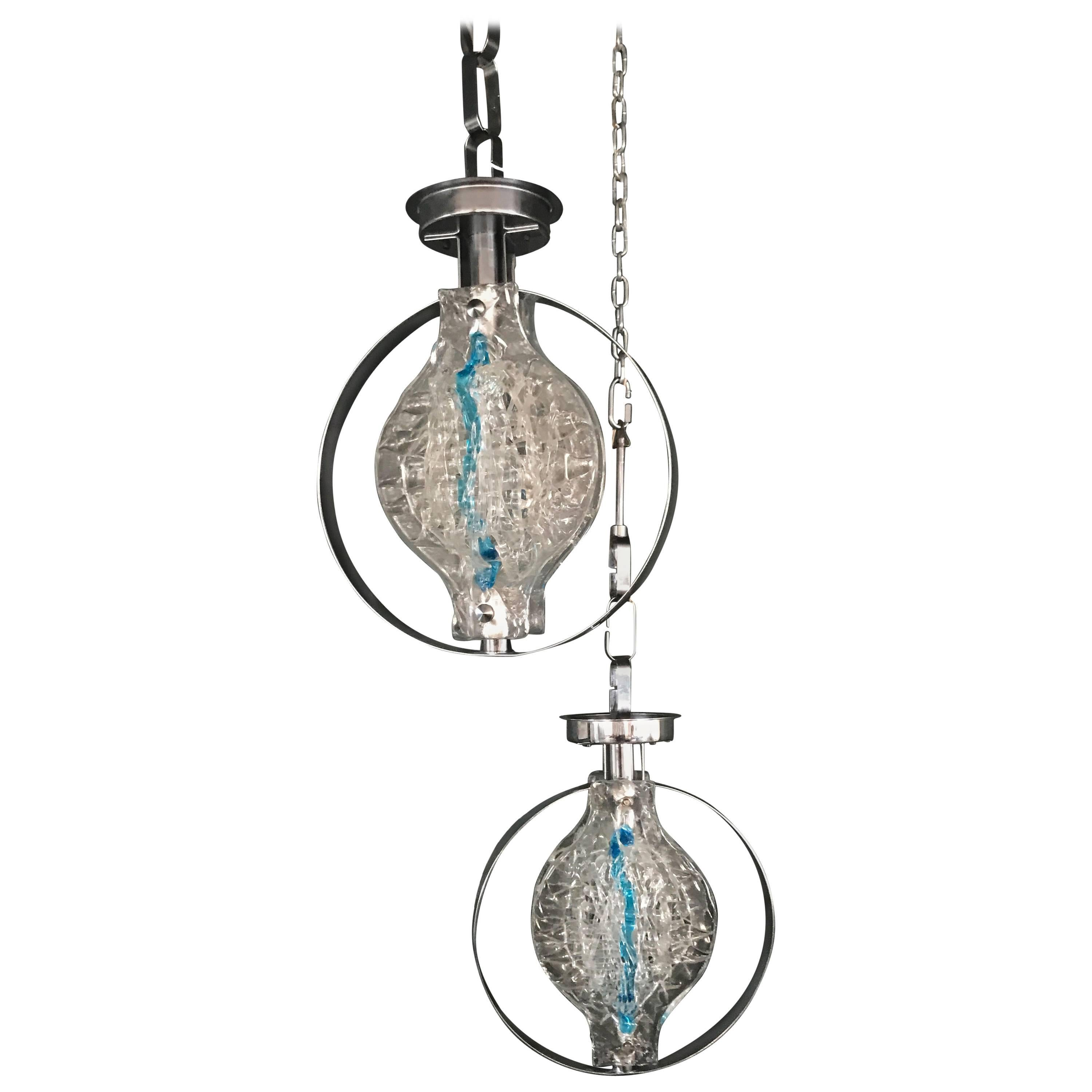 Pair of Pendant Lights by Angelo Brotto for Esperia