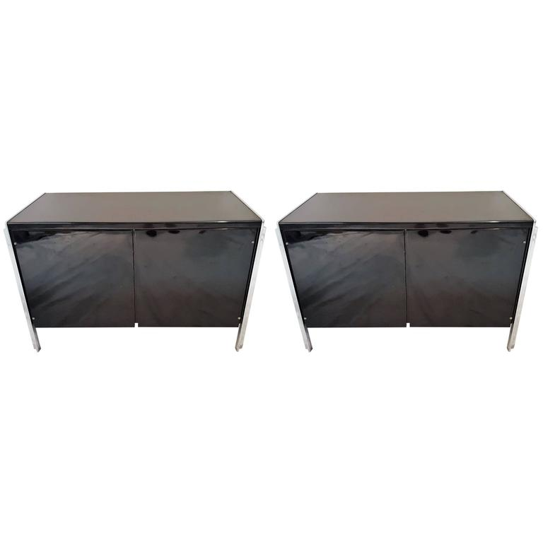 Pair of Stow Davis Lacquer and Chrome Side Table and or Cabinet For Sale
