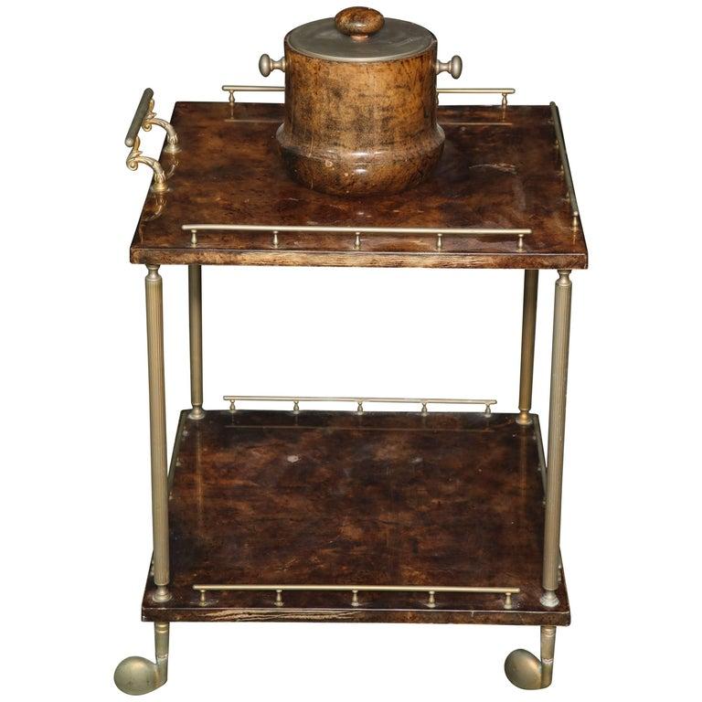Aldo Tura Lacquered Goatskin Bar Cart  For Sale