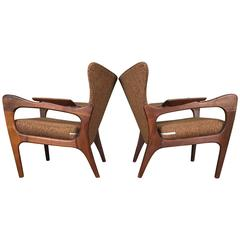 Pair of Sculptural Wingback Lounge Chairs by Adrian Pearsall, Craft Associates