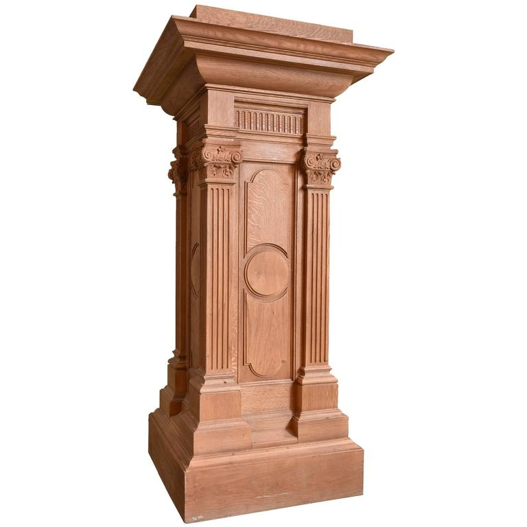 Small Wooden Column : Quartersawn oak pedestal with fluted columns for sale at