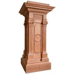 Quartersawn Oak Pedestal with Fluted Columns