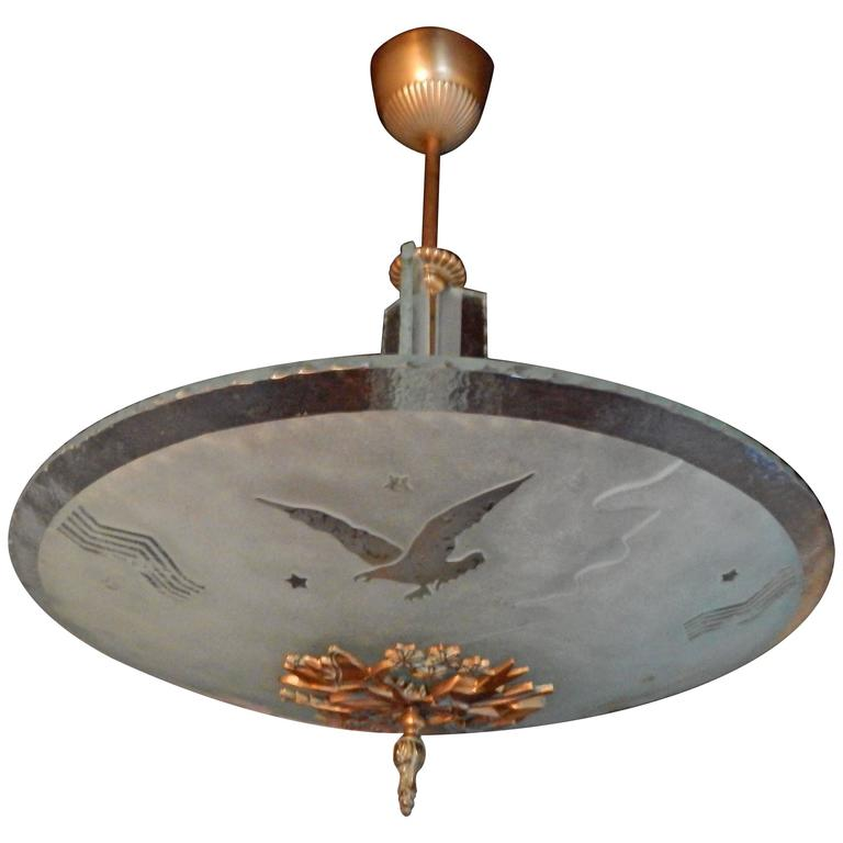 Swedish Art Deco Acid Etched Eagle Fixture by Glössner, circa 1930