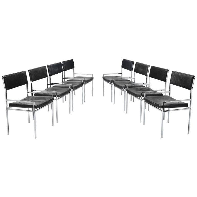 Set of Eight Poul Nørreklit Armchairs in Leather and Steel