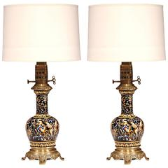 Pair of 19th Century French Hand-Painted Porcelain Oil Lamps with Bronze Mounts